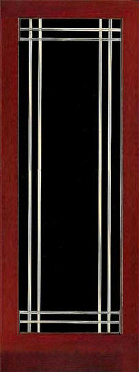 Grooved clear glass design in stained wood frame.