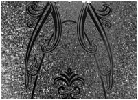 Detail of elegant glass style used in door panel.