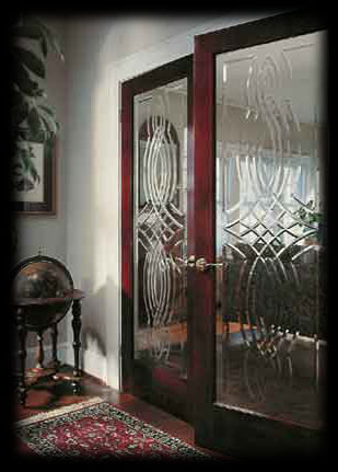 Interior etched glass French doors.