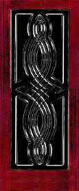 Decorative v-groove twist design in glass door panel.