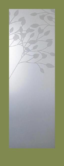 Etched Glass Interior Door Features Floral Design Of Tree