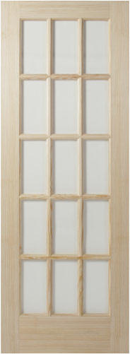 15 lite unfinished pine French door