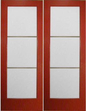Interior French door features modern styling and painted pine frame.