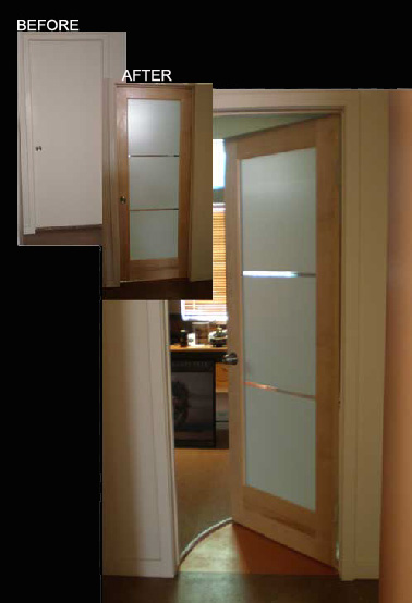 Modern Office Door With Frosted Glass And Maple Wood Frame.