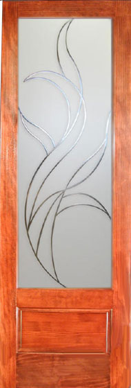 Decorative Glass Interior Doors Feature A Fire Pattern