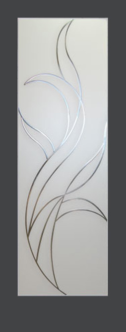 $390, Etched Glass Door With Fire Design For Interior Use